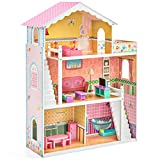 Large Childrens Wooden Dollhouse Fits Barbie Pink W/ 17 Pieces of Furniture