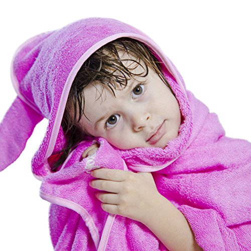 Rozeclas Baby bamboo hooded towel- 600gsm - Ultra soft super Snuggle Technology - Washcloth set - luxury bamboo 100%organic - Super absorbent and also perfect for sensitive skin - pink towel for girl