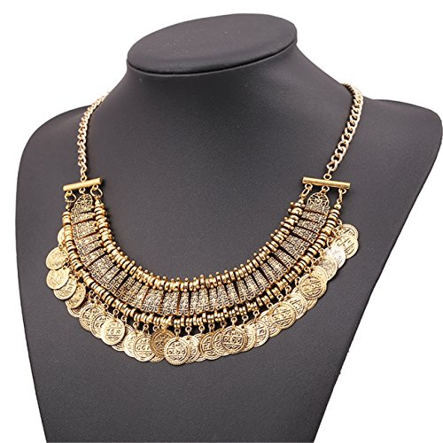 Lanue Chunky Punk Tribal Retro Antique Silver Gold Coins Plated Alloy Bib Choker Necklace (color 3)