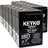 Carpenter Watchman 713526 6V 4Ah Battery Fresh & REAL 4.0 Amp AGM/SLA Sealed Lead Acid Rechargeable Replacement Genuine KEYKO (W/F-1 Terminal) - 12 Pack