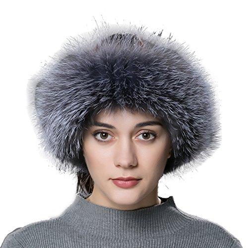 URSFUR Women Fur Headband Real Fox Fur Knitted Scarf Ear Protector -
