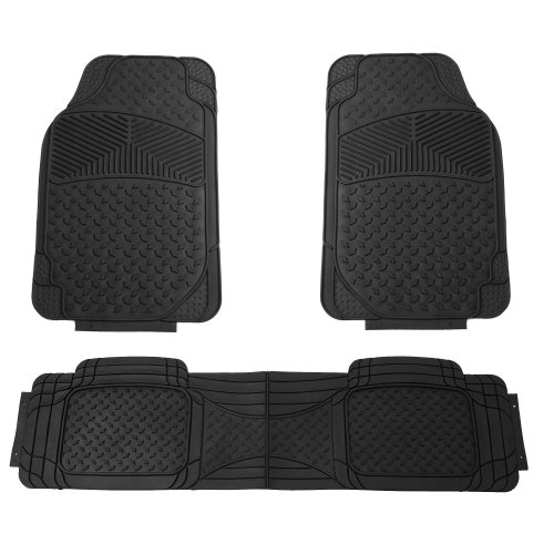 FH GROUP FH-F11307 Semi Custom Trimmable Heavy Duty Rubber Floor Mats Front & Rear - Black 3pc (1997 Honda Civic Floor Mats)