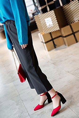 Meili Tacón Red Alto Moda Palabra Zapatos Sra Hebilla Uva Sandalias De Gránulos RxZqrgRw1