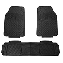 FH GROUP FH-F11307 Semi Custom Trimmable Heavy Duty Rubber Floor Mats Front & Rear - Black 3pc Set