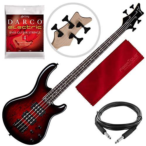 Dean E2 SM TRD Edge 2 Bass Guitar, Trans Red with Guitar Accessory Pack