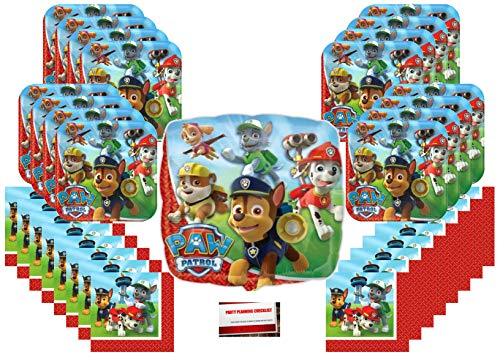 Paw Patrol Rescue Puppy Pet Birthday Party Supplies Bundle Pack for 16 (Bonus 18 Inch Balloon Plus Party Planning Checklist by Mikes Super Store) -