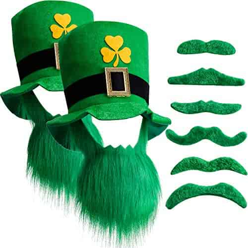 94df62dd12d Chuangdi St. Patricks Day Leprechaun Top Hat and Beard Shamrock Velvet Hat  with Green Mustache