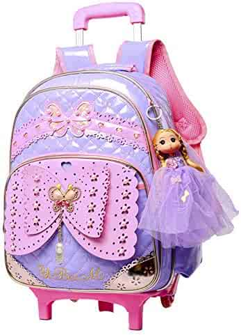 Fanci Butterfly Princess Style Elementary Trolley Rolling School Backpack  Book Bag for Primary Girls Wheeled Backpack 140649d119968