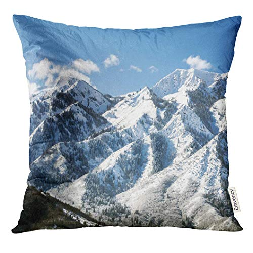 SHAMS OK Throw Pillow Cover Utah Wasatch Mountains in Ogden Just North of Salt Lake City Which is Popular for Skiing Snowboarding Decorative Pillow Case Home Decor Square 18x18 Inches -