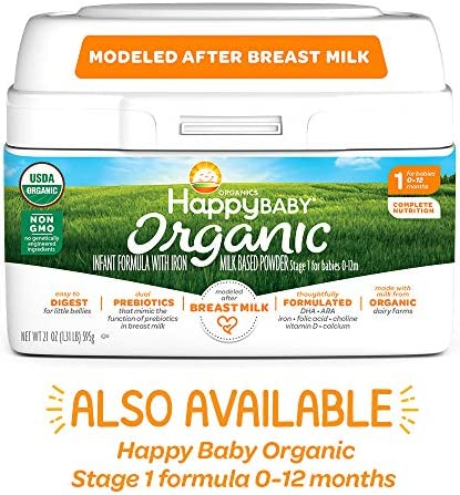 5103 dZ2bGL. AC - Happy Baby Organic Infant Formula Milk Based Powder With Iron, Stage 2, 21 Ounces, 4 Count (Packaging May Vary)