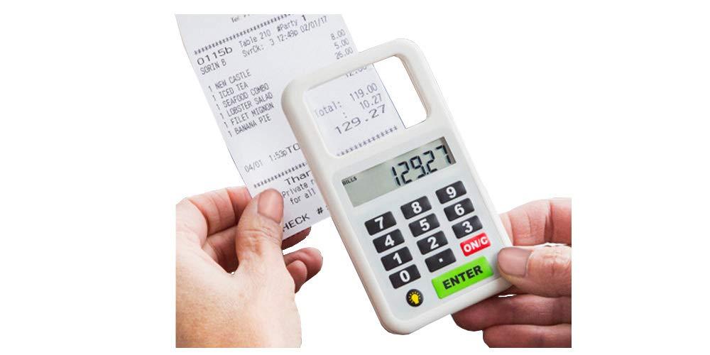 As Seen On TV Handheld Tip n Split Pocket Calculator w/LED Lighted Magnifying Glass for Reading Bills, Menus and Splitting Tips