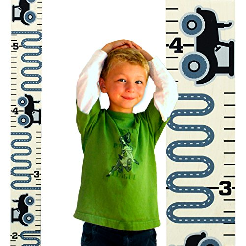 "Growth Chart Art | Wall Hanging Wooden Height Growth Chart for Boys – Gray Tractor Ruler with Black Numerals – Nursery Wall Decor for Boys - 58""x5.75"" - Kid Art Tractor"