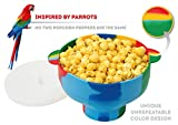 Microwave Silicone Colorful Popcorn Popper with Handles and Lid - Collapsible Cooking Bowl - One-Of-A-Kind Design - FREE Ebook - Hot Air Maker for Corn Kernels (Parrot)