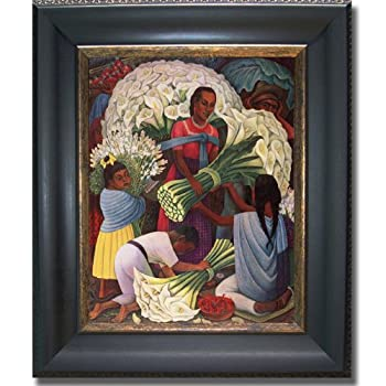 The Flower Vendor by Diego Rivera Premium Black & Gold Framed Canvas (Ready-to-Hang)