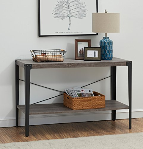 O&K Furniture 2-tier Industrial Sofa Table, Metal Hall Console Table with Storage Shelf for Living Room and Entryway, Gray Finish