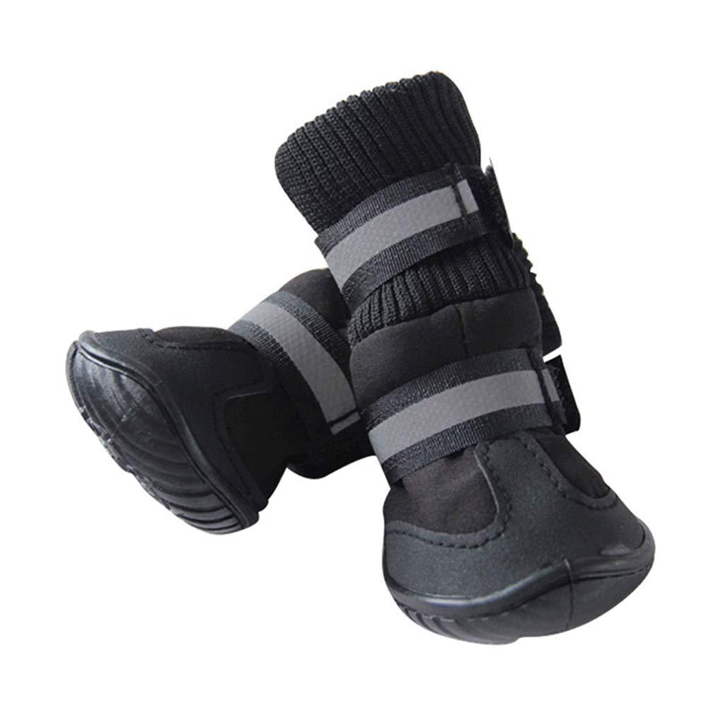 Black M black M AOBRITON 4 Pcs Set Winter Warm Pet Dog shoes Waterproof Small Big Dog's Boots Cotton Non Slip Pet Product Pets Outdoor Supply