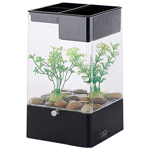 Semoic LED Licht Platz USB-Schnittstelle Aquarium oekologisch Buero Schreibtisch Aquarium Filter, schwarz + transparent Weiss + transparent