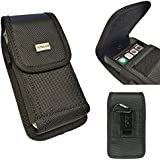 GALAXY S7 , GALAXY S5 , GALAXY S6 , GALAXY S6 edge ~ EX Large Durable Vertical / Horizontal Nylon Canvas Carrying Pouch with Duty Metal Clip Holster+Carabiner Key Ring Hook (Fits Phone with otterbox / commuter / Symmetry / Spigen Armor / hybrid protective case on)