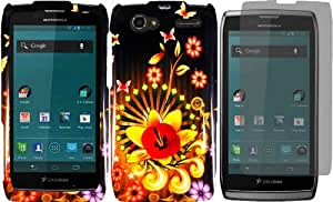 For Motorola Yangtze Electrify 2 XT881 XT885 XT886 XT889 MT887 Hard Design Cover Case Shine Flower+LCD Screen Protector
