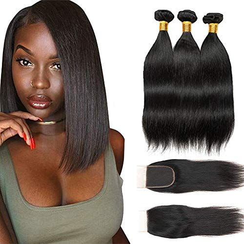 Bex Straight Hair Bundles 10 12 14 with 8 inch Closure - 100% Unprocessed Brazilian Human Hair Weave Soft 10A Grade Straight Bundles with Closure-Natural Black Color (ST 10 12 14 + 8) 100% Human Hair Weave