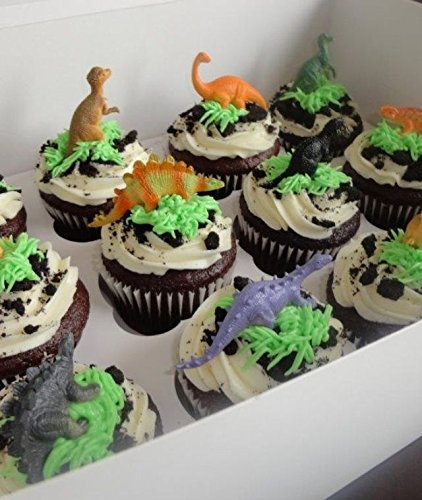 Mini Dinosaurs Toys Cupcake Toppers, Dinosaur Cake Decoration Figures For Dinosaur Theme Parties