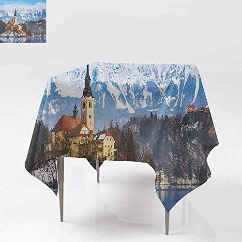 SONGDAYONE Modern Square Tablecloth Winter Lake Bled in Slovenia Scenes from Europe Travel Destination Ancient Places Photo Wrinkle Free Multicolor W50 xL50