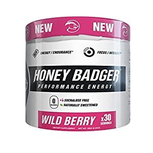 Honey Badger Natural Keto Pre Workout for Men & Women (Performance Energy, Paleo, Nitric Oxide, Amino Acids, Wild Berry, 30 Servings, Vegan, Sugar Free, Sucralose Free, Naturally Flavored & Sweetened)