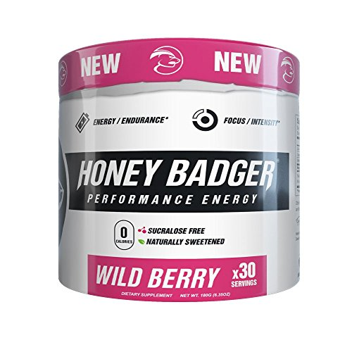 Honey Badger Performance Energy Pre-Workout (Wild Berry / 30 Servings / Sucralose Free / Naturally Sweetened / CarnoSyn ® Beta-Alanine)