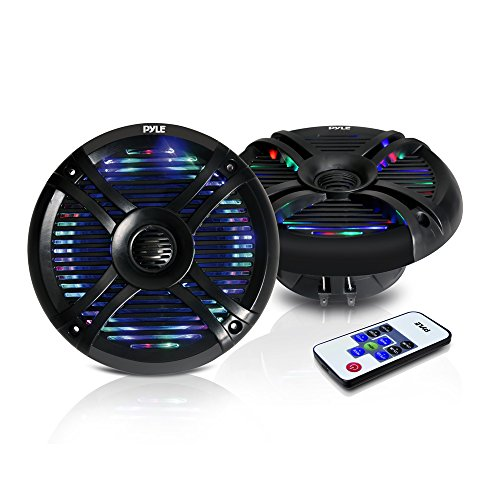 Pyle Hydra Dual 6.5'' Waterproof Marine Grade Speakers, Built-in Multi-Color LED Lights, 250 Watt, Pair (Black)