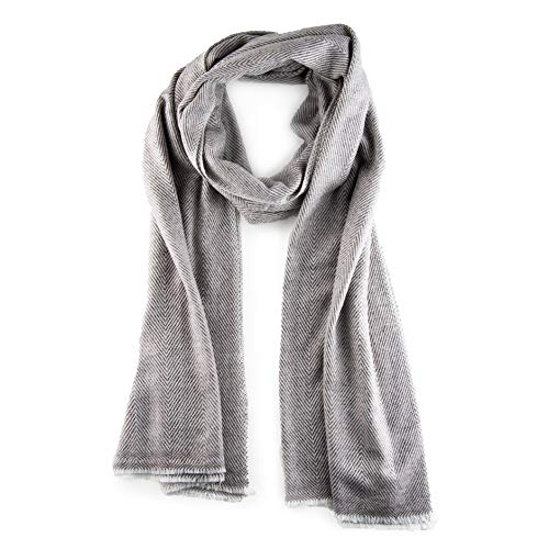 100% Cashmere Scarf Men and Women Herringbone overall Gray with Gray-Brown lines on Cream background. Soft and luxurious 84 x 29 inches by Mandalina Magic.