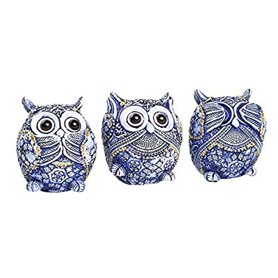 FAMICOZY Owl Figurine with Different Gestures,Cute Owl Statue,Adorable Decoration for Home Office Set of 3,Blue - Owl figurine made of resin material,Package include 3pcs owl figurines(see no evil,hear no evil,speak no evil) as shown in the picture.Appr 3.15 Inch tall for each owl Decorative,hand painted,life-like owls,adorable desktop or tabletop accent A great gift for kids and adults to decorate room,office and other place you want to - living-room-decor, living-room, home-decor - 51031RxclNL. SS400  -
