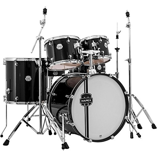 mapex-vr5295tdkzz-voyager-rock-5-piece-drum-set-with-cymbals-black
