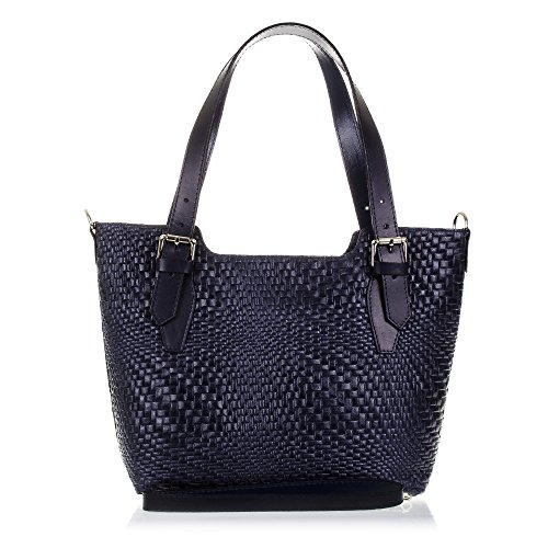 ITALY Leather Genuine engraved Black cm ITALIAN Bag handbag Women Color GENUINE IN LEATHER37x27x14 Azul Leather ARTEGIANI MADE TOTE FIRENZE qRBtxPq