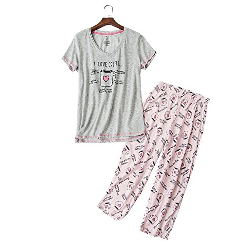 YIJIU Women's Short Sleeve Tops Capri Pants Cute Cartoon Print Pajama Sets