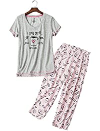 Women's Short Sleeve Tops Capri Pants Cute Cartoon Print Pajama Sets