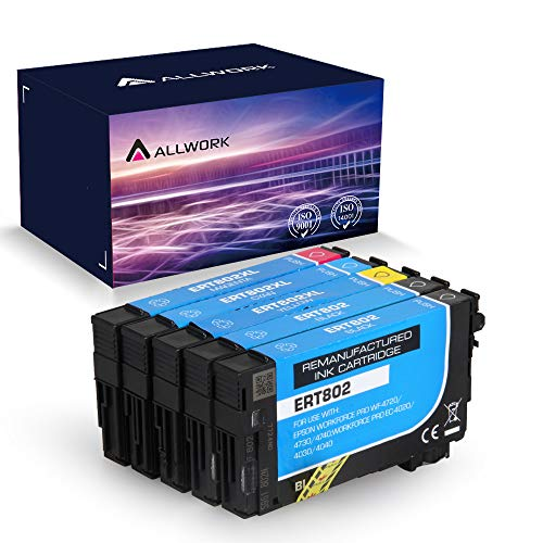 Remanufactured Ink Cartridge Replacement for Epson , for Epson Workforce Pro WF-4720 WF-4730 WF-4734 WF-4740 Printer Ink,5 Pack (KKCMY) - Allwork 802XL 802 XL T802XL