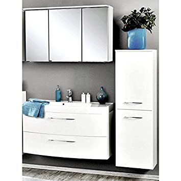 Badmöbel Set Hochglanz weiß (3 teilig) Waschtisch Badezimmer ...