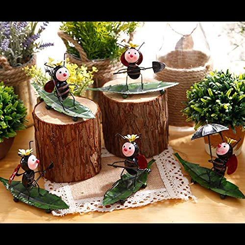 (Creative Fairy Garden Miniature LadyBugs set of 5 Desktop Decoration Ornaments Metal Figure Crafts For Home Decoration Accessories)