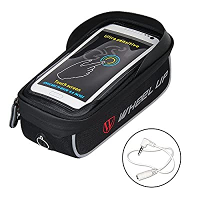 Bike Bag, WATERFLY Frame Bike Bag with Waterproof Touch Screen Bicycle Handbar Front Phone Holder for iPhone 7 Plus 8Plus 6 plus/Samsung Galaxy s7 note 7 Cellphone Below 6.0 Inch With Sun Visor