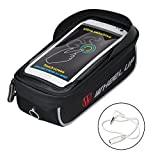 WATERFLY Bike Bag, Frame Bike Bag with Waterproof Touch Screen Bicycle Handbar Front Phone Holder for iPhone 7 Plus 8Plus 6 plus/Samsung Galaxy s7 note 7 Cellphone Below 6.0 Inch With Sun Visor