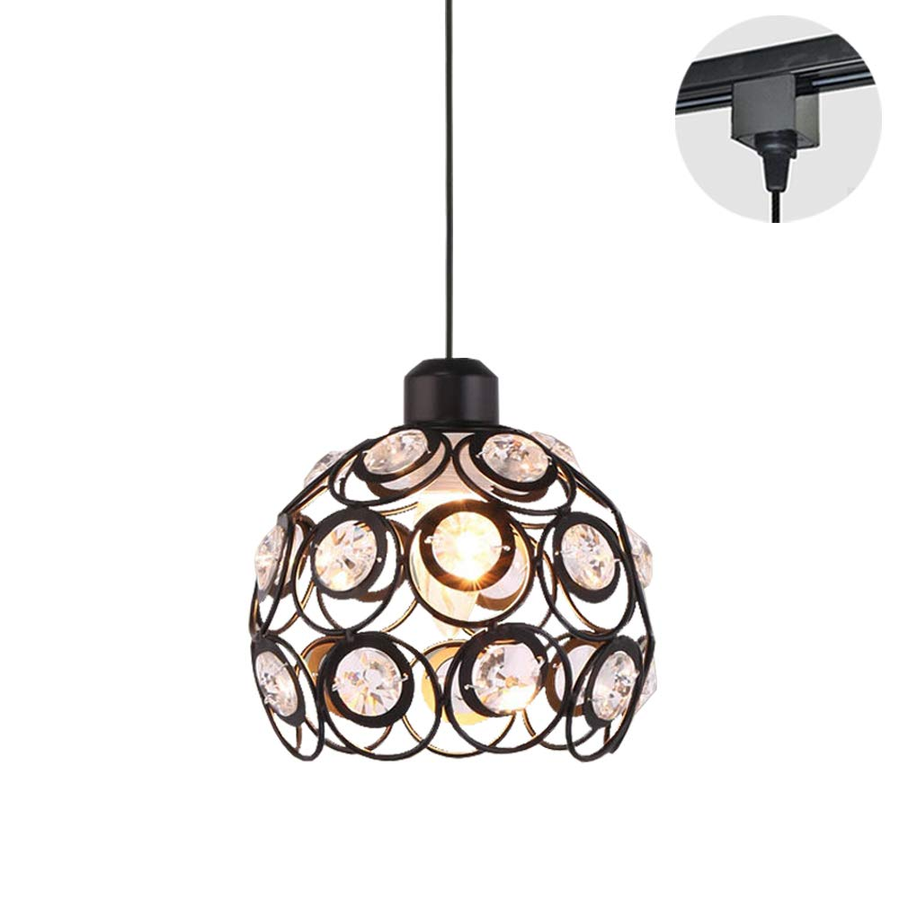 STGLIGHTING 1-Light H-Type Track Light Pendants Crystal Lampshade Black Iron Cage Restaurant Chandelier Pendant Light Bulb Not Included