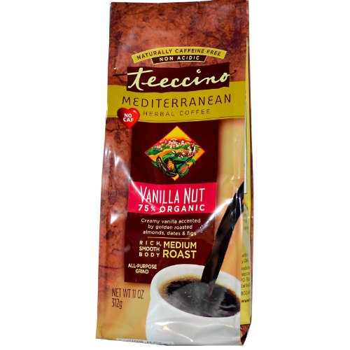 Teeccino Organic Medium Roast Vanilla Nut Herbal Coffee, 11 Ounce - 6 per case. -