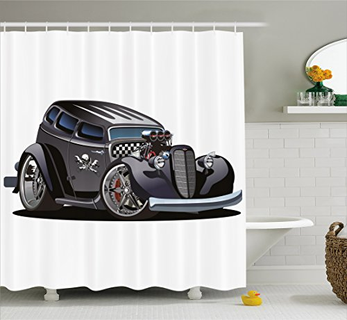 Hot Rod Skull (Boy's Room Shower Curtain by Lunarable, Classic Hot Rod Car Fashion with Skull Pattern Angry Furious Gesture Graphic, Fabric Bathroom Decor Set with Hooks, 70 Inches, Charcoal Grey)