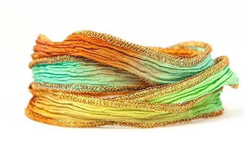 Summer Blaze Handmade Silk Ribbon - Blue, Green, Darker Blue, Terracotta with Copper Edges