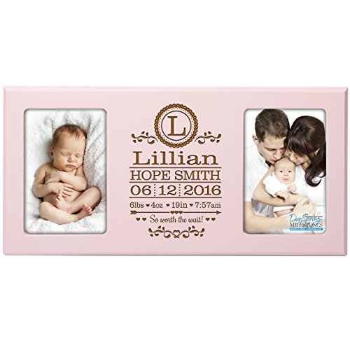 Personalized New Baby birth announcement monogram picture frame for newborn boys and girls Custom engraved photo frame for new mom and dad parents and grandparents holds 2 4x6 photos (Pink) ()