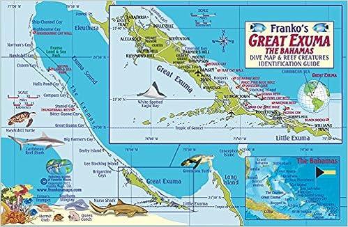 Great Exuma Bahamas Dive Map Reef Creatures Guide Franko Maps - Amazon maps