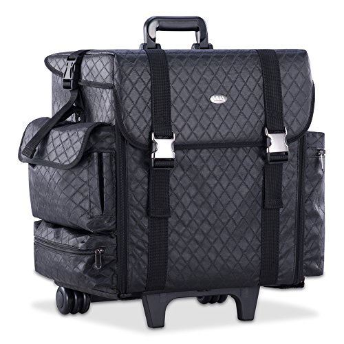 Professional Makeup Cosmetic Carry Case w/ 8 Removable Organizer Drawers and Brush Holder Soft-sided Nylon Fabric by MUA
