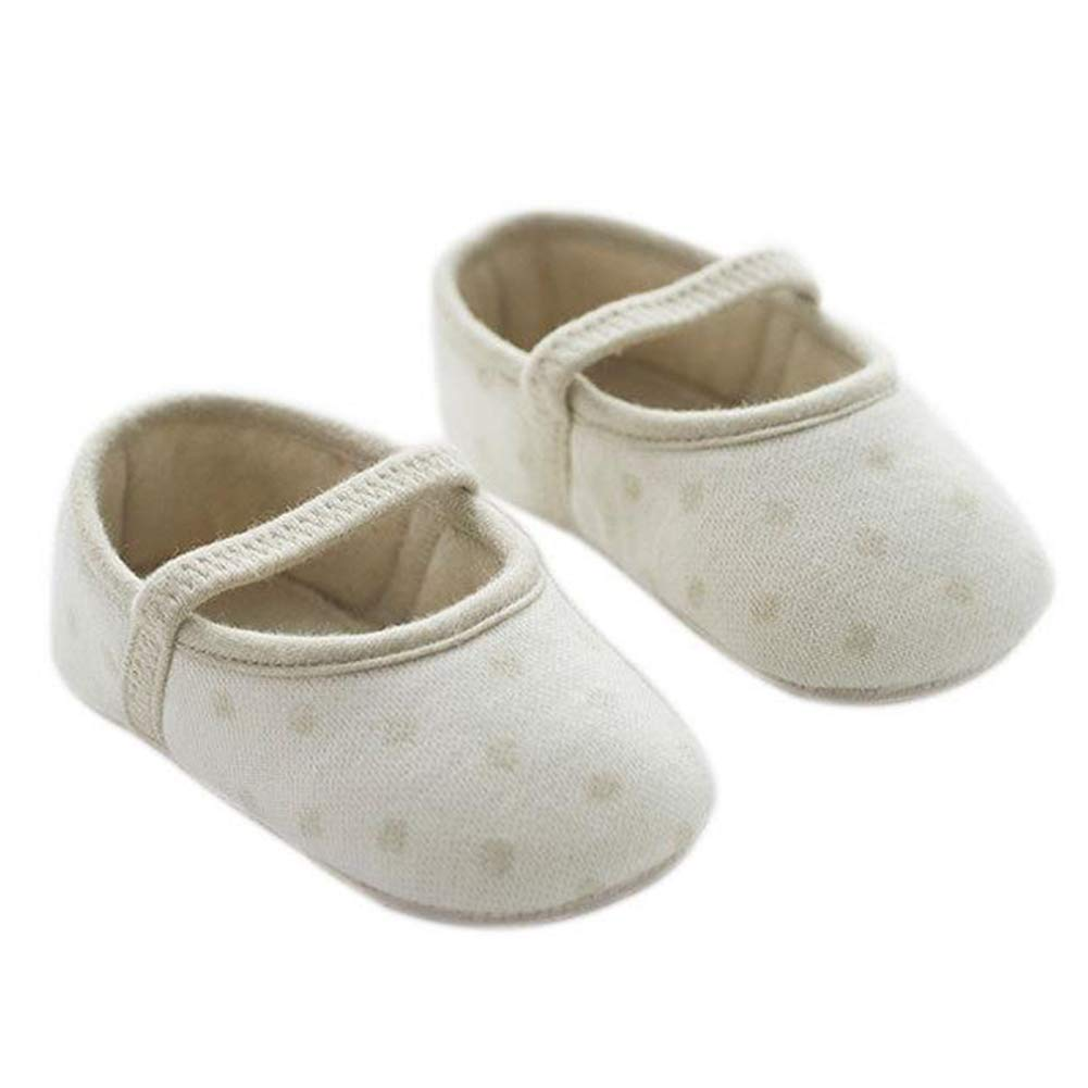Unisex Baby Boys Girls Breathable Cotton Shoes Dots Pattern Prewalker Shoes Antiskid Sole Sneaker Slippers Light Green 110mm