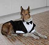 Large Dog Wedding tuxedo with bowtie cotton dogs formal party suit clothes (black, L)