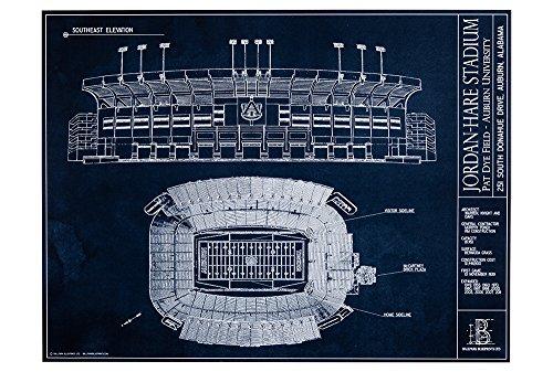 Jordan Hare Stadium - Jordan-Hare Stadium - Auburn University Blueprint Style Print (Unframed, 18